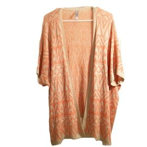 Mahina Peach/Beige Open Front Cardigan Size Small